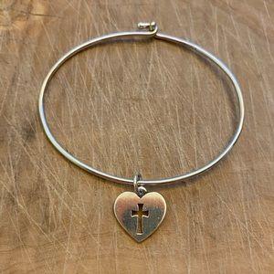 James Avery bracelet with crosslet Heart charm